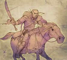 the warrior and his horse by Mundokk