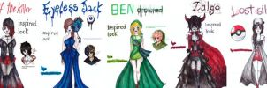 aaaa lot of creepypasta inpired outfits! by NENEBUBBLEELOVER