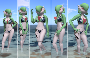 Nowan Mystiere _ Gardevoir at the beach 1 by IndigoMystiere