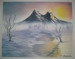 Mountain Scape Oil Painting by BookWizard