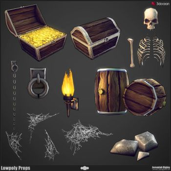 Modular Dungeon Lowpoly Props by JeremiahBigley
