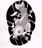 Koi Half-Sleeve Black and White by Hausofch