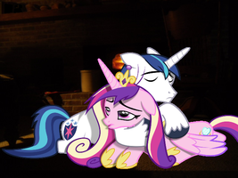 Shining and Cadance by my fireplace by Eli-J-Brony