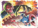 Captain America Sketch card from Greatest Battles by andypriceart