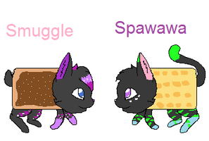 Smuggle and Spawawa nyan cat by Perry--Agent