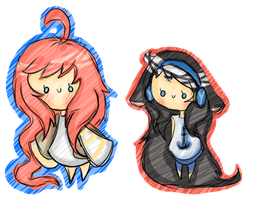 Chibi Gifts - mimihgfh and Ehyrine by BubbIeBunny