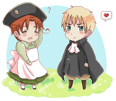 Chibitalia and HRE pixel art by simply-lau