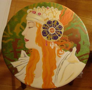 Mucha Inspired Stool by An-Ode-To-Maybe