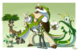 Pokemon Gym Leader Art Challenge - Grass Team by EarthGwee
