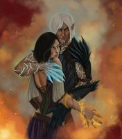 Fenris and Hawke by A11e