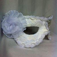 White Leather and Lace Masquerade Mask by DaraGallery