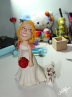 Wedding Cake Topper - bride and cute poodle by natsy-alencar