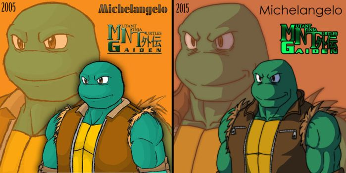 MNT Gaiden-Future Michelangelo (before-after) by Tigerfog