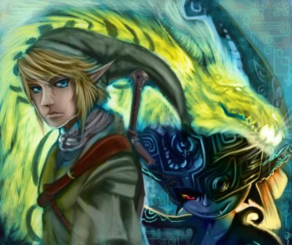 Link Midna and Lanaryu by Decadia
