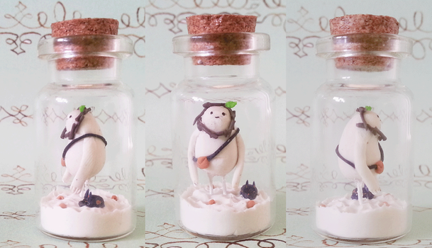 Polymer Clay : Snow Gollem in a bottle by CraftCandies