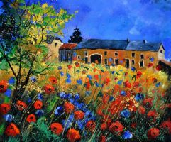 Red poppies and blue cornflowers in Houroy by pledent
