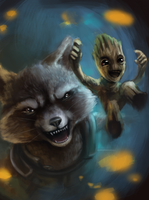 Rocket Raccoon and Groot Paint by Foxeaf