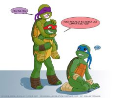 Turtles Playing Piggy Back 2 by OrangeBlueCream
