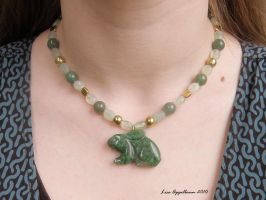 Green Stone Rabbit Necklace by Cillana