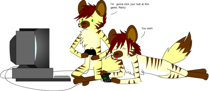 Cousins Playing Videogames by GrammarshineHyena