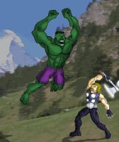 Ultimate Thor vs Ultimate Hulk by theonejanitor