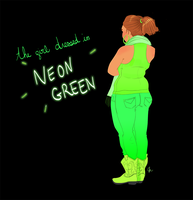 Street Style - The girl dressed in Neon Green by sarakuan