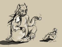 monster with tea by EiliEnie