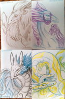 Dragon Sketch Headshots by CliffeArts