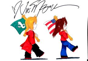 FMA-Ed and Emmy- Flag walk-with vics signature by AnimeEmm