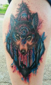 Watercolor wolf by gabito852