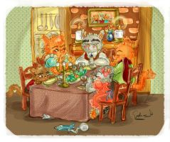 Cats Dinner by samycat