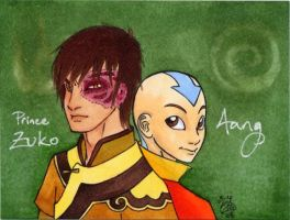 Zuko and Aang badge by zirio
