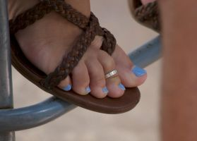 Blue Toes in Leather Sandals by Feetatjoes