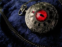 Shadow Swirl Time Piece - Vermilion Red Dragon Eye by LadyPirotessa