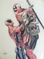 Spider-man vs. Deadpool by becomesthecolour