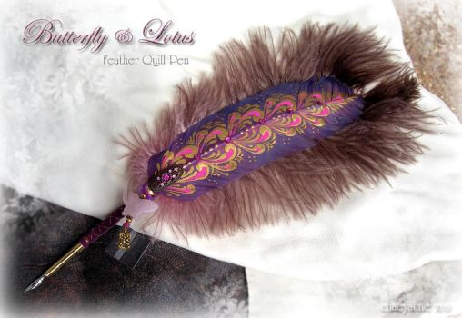 Butterfly Lotus Feather Pen by ChaeyAhne