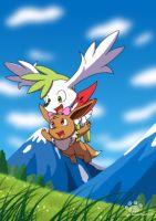 Flying date with Shaymin by Coshi-Dragonite