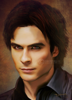 Damon Salvatore painting by perlaque