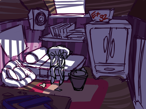 Main character's room concept by Futurechoco