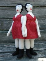 Siamese Twins doll, red dress by silentorchid