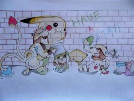 Smeargle and Family  - Have a nice day by 0chibinoa0
