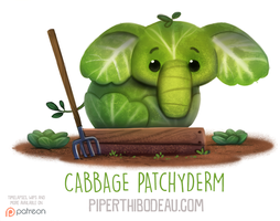 Daily Paint 1567. Cabbage Patchyderm by Cryptid-Creations