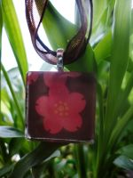 Red-Brown Flower Tile Pendant by akiseo