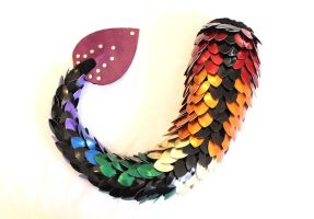 Rainbow Scaled Dragon Tail by SerenFey