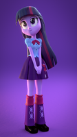 Twilight Sparkle 'Happy' (EQG Blender) by rjrgmc28