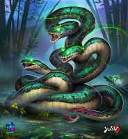 Yanshi: Three Headed Serpent by dinmoney