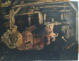 Battle with Grendel scratchboard by steponmebff