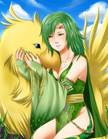 FFIV: Rydia and Chocobo by HanuWabbit