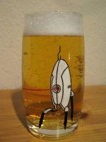 Portal Turret Drinking Glass by WispyChipmunk