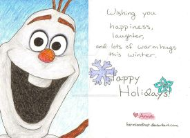 Olaf Card - Holiday Card Project 2013 by HermioneFrost